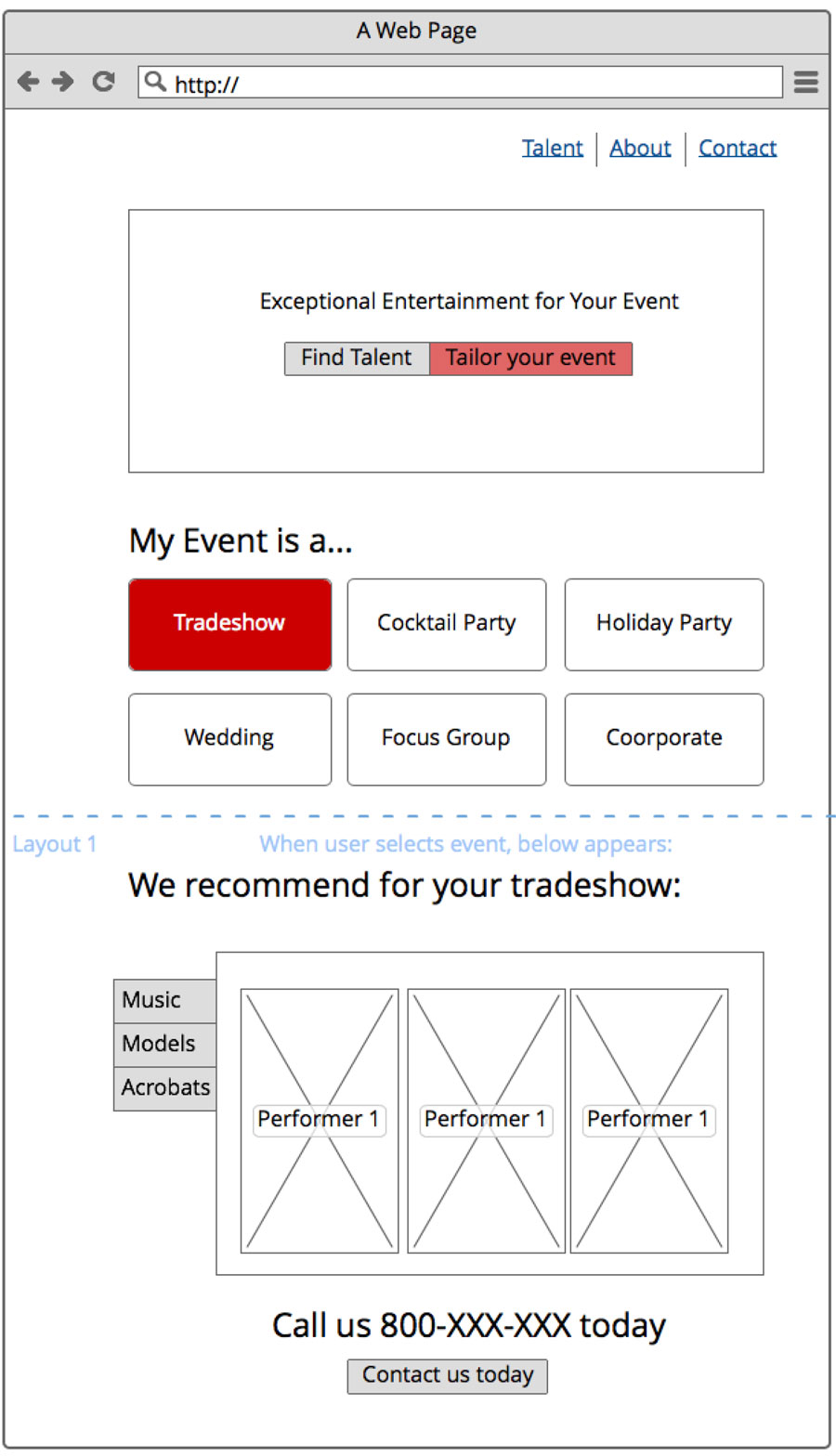 MRS Events - UI Mockups - Design by Kristine Perry